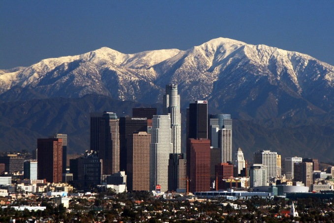Source: Wikimedia. LA Skyline with Mountains.