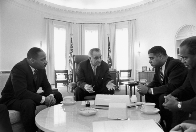 Source: Wikimedia  President Lyndon B. Johnson meets with Civil Rights leaders Martin Luther King, Jr., Whitney Young, James Farmer.  Date: 18 January 1964 Source: Lyndon Baines Johnson Library and Museum.  Image Serial Number: W425-21. http://photolab.lbjlib.utexas.edu/detail.asp?id=9853 Author: Yoichi R. Okamoto