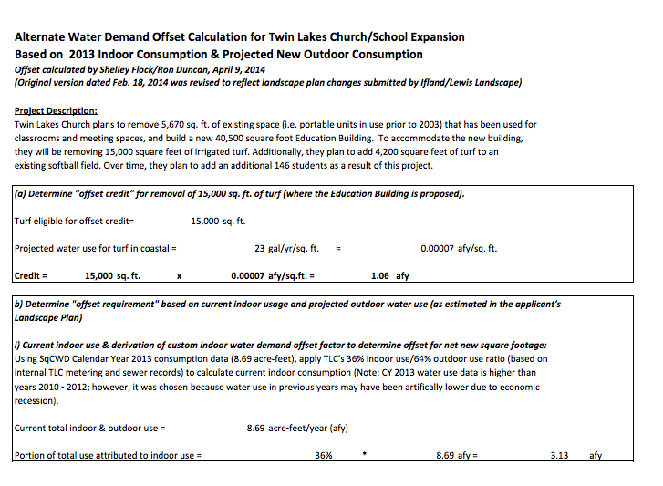 Twin Lakes Alternate Water Demand Offset Calculation Page 1