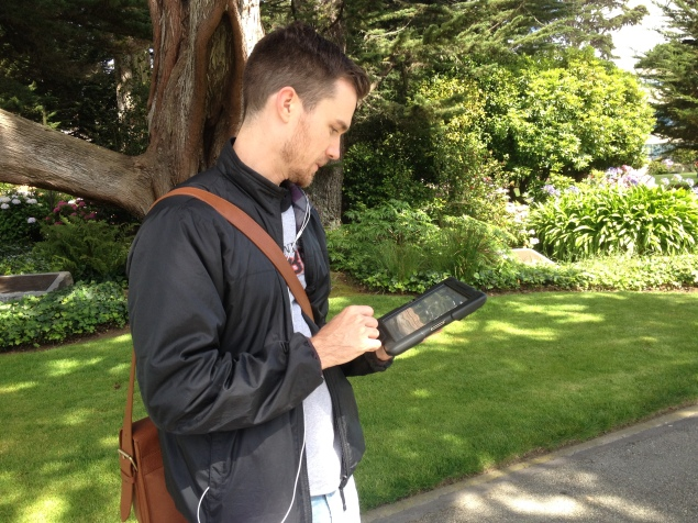 An SF resident giving input on green infrastructure during one of our iPad outreach campaigns for the SFPUC.