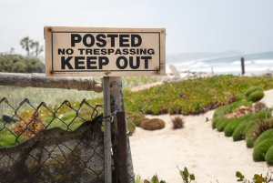 No Trespassing sign in Malibu