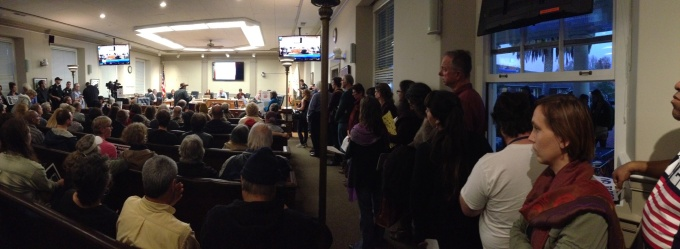 Standing room only in the Council Chambers